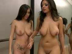 Sexy brunette dancers Yurizan Beltran & April O'Neil fuck in the fitness room