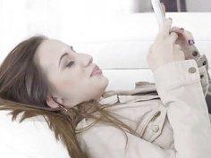 Horny amateur Ashley Taylor downloads an app and bangs JMacs huge cock