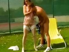 Tennis MILF explores a guys little ass before pounding it